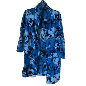 blue skull patterned warm bathrobe for young boys